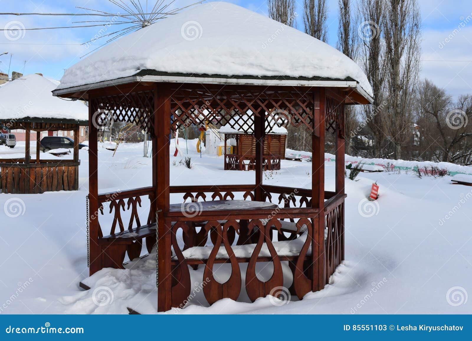 Winter der Ruheplatz des Gazebo