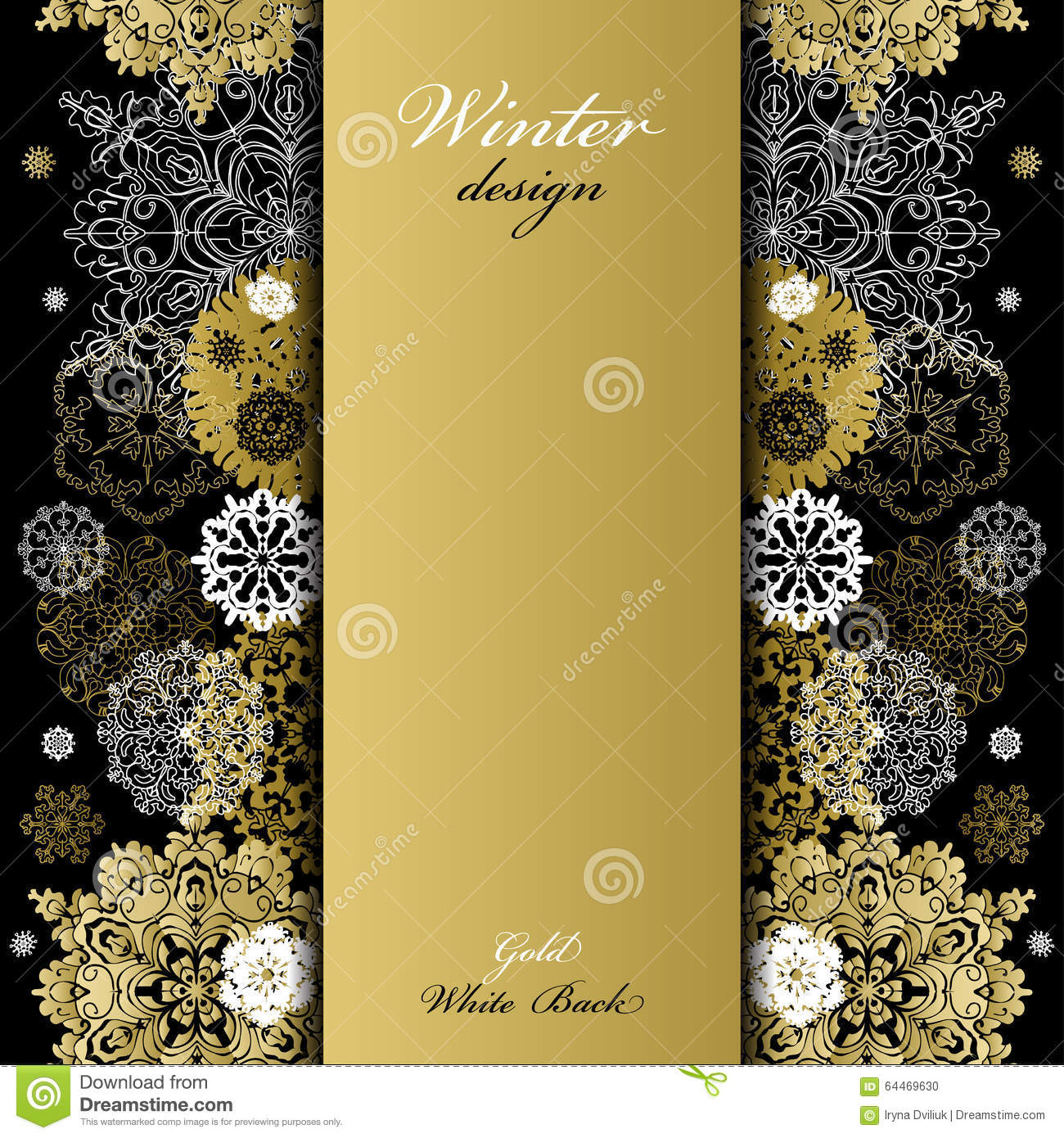 winter design with golden white snowflakes on black background  stock vector
