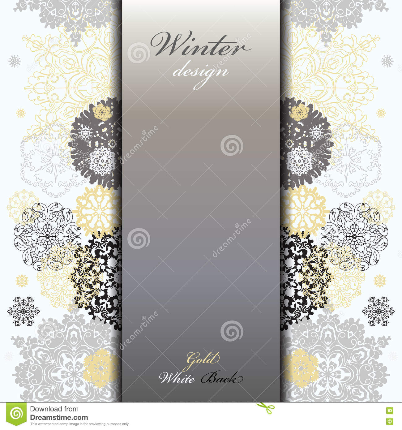 Background image vertical center - Winter Design With Silver White Snowflakes Stock Vector Abstract Background Border Center