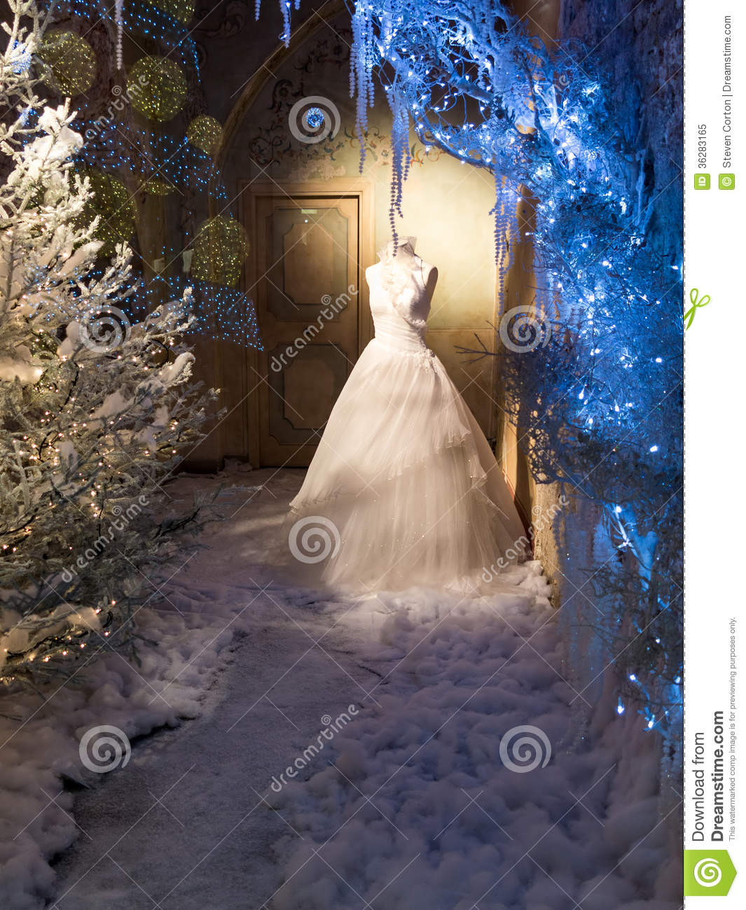 Wedding Gown Display: Winter Display Of Wedding Dress Stock Image