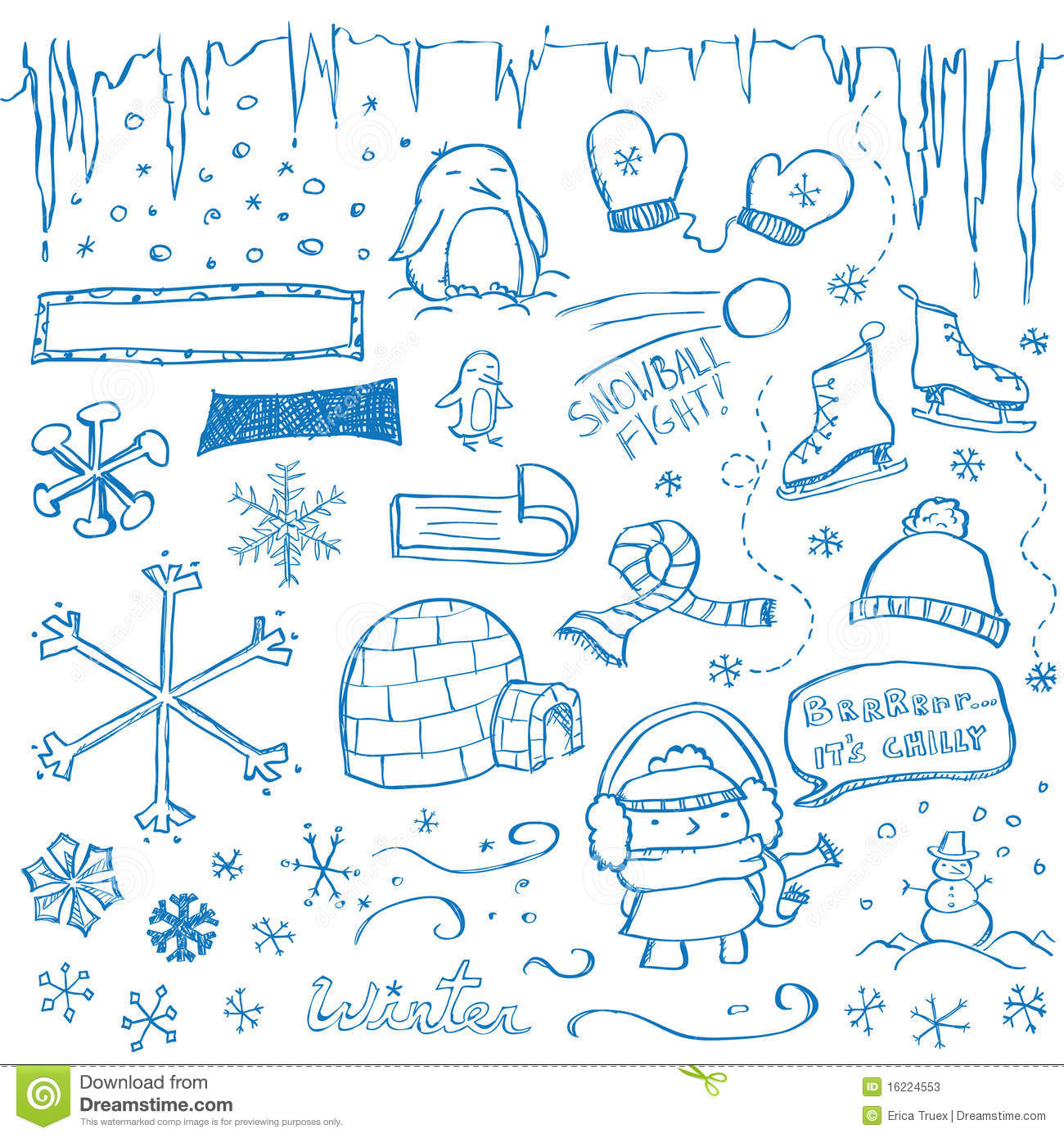 Christmas decor clipart - Winter Doodles Stock Photos Image 16224553