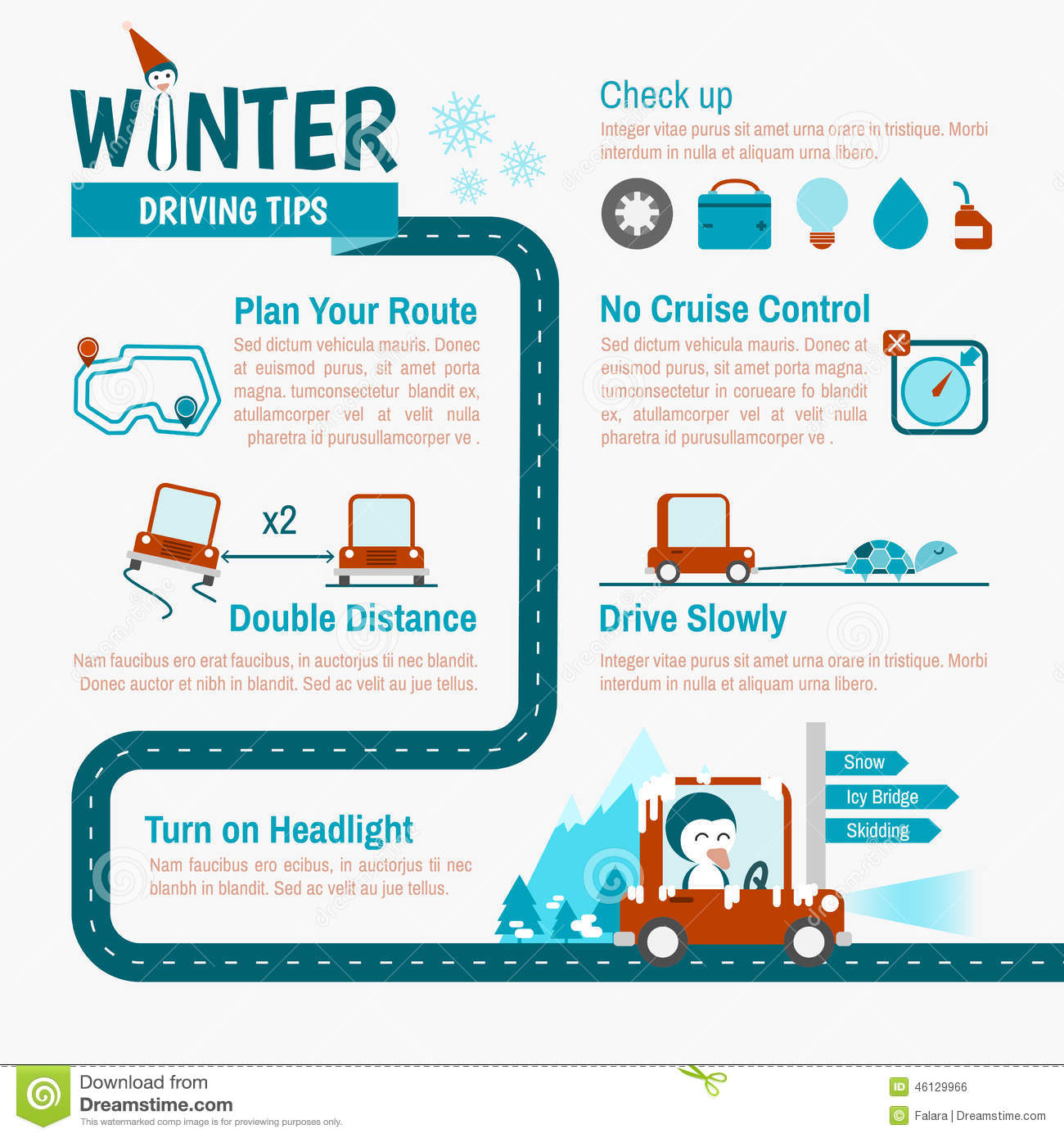 Winter safety tips for truck drivers - Driving Infographics Safety Tips Trip Winter