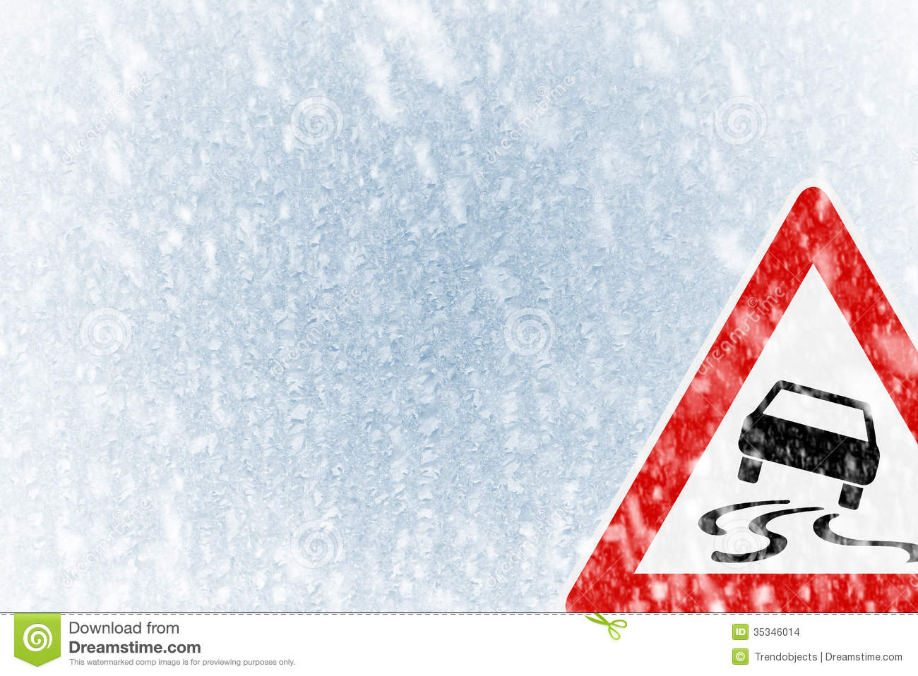 Winter Driving Winter Background With Warning Sign Stock