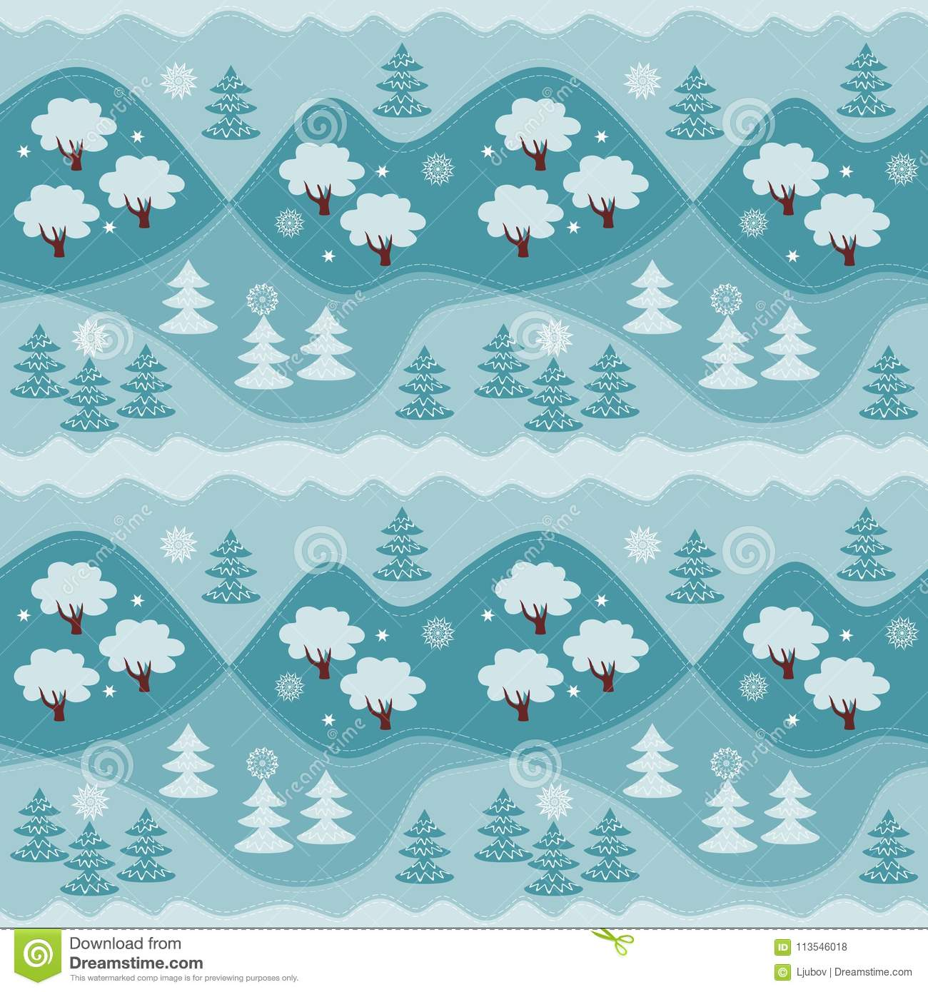 Winter endless pattern with forest. Print for fabric, wallpaper, wrapping paper. Vector illustration. Woodland.