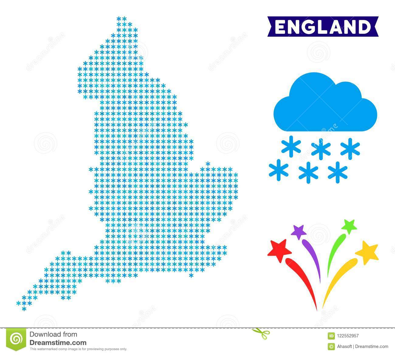 Frozen England Map Stock Vector Illustration Of Location 122552957