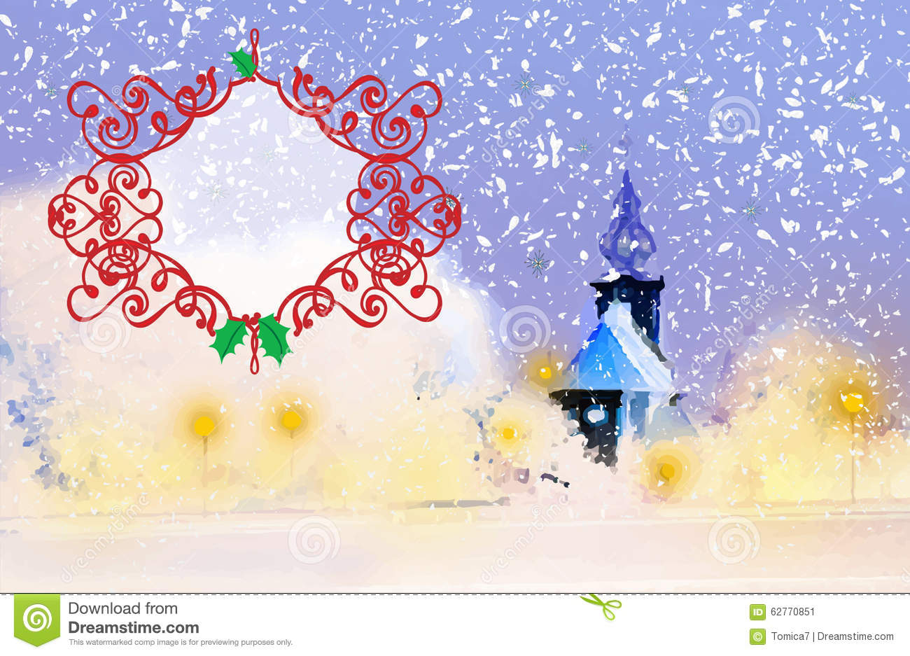 winter evening with a church in the snow christmas or new year greeting card or background with ornament blank emty text box illustration