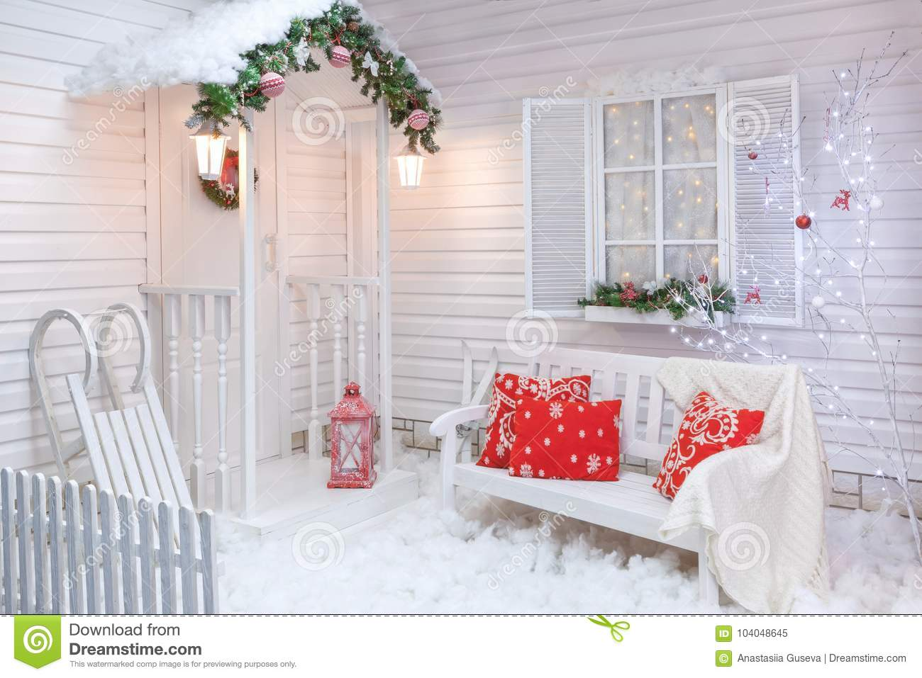 winter exterior of a country house with christmas decorations - How To Decorate Exterior Of House For Christmas