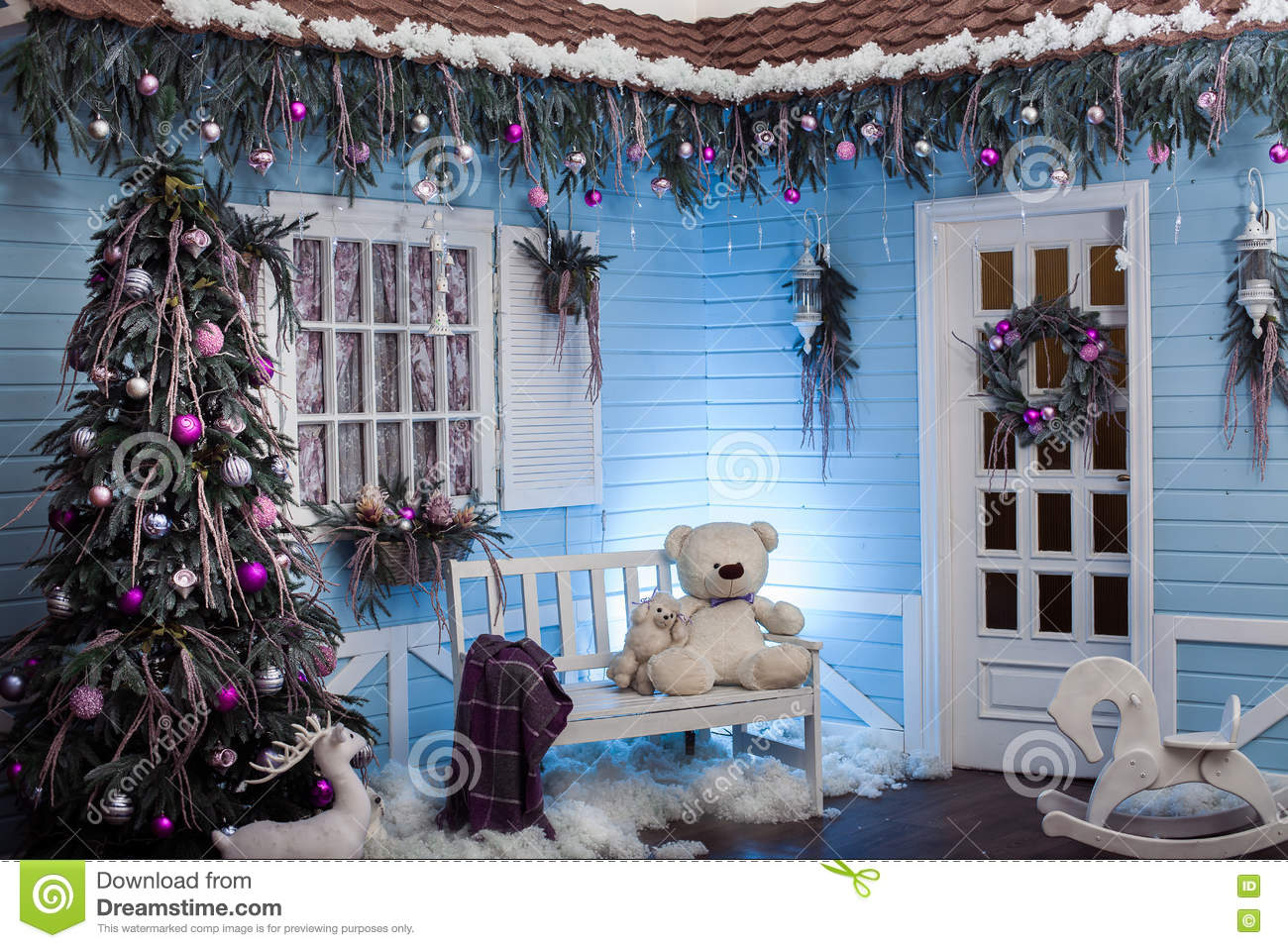download winter exterior of a country house with christmas decorations in stock image image of - How To Decorate Exterior Of House For Christmas