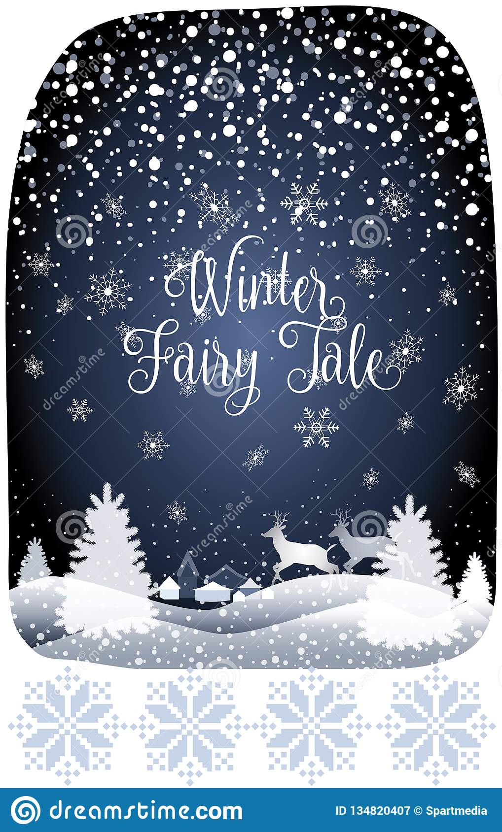 2019 Winter Fairy Tale Holiday Happy New Year Merry Christmas Snowy Forest Landscape with reindeer