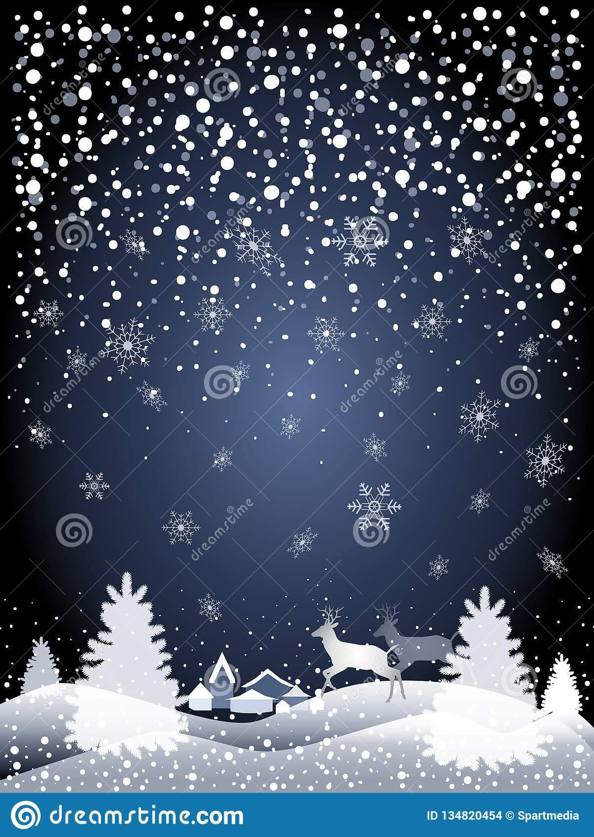 2019 Winter Fairy Tale Holiday Happy New Year Christmas Snowy Forest Landscape with reindeer