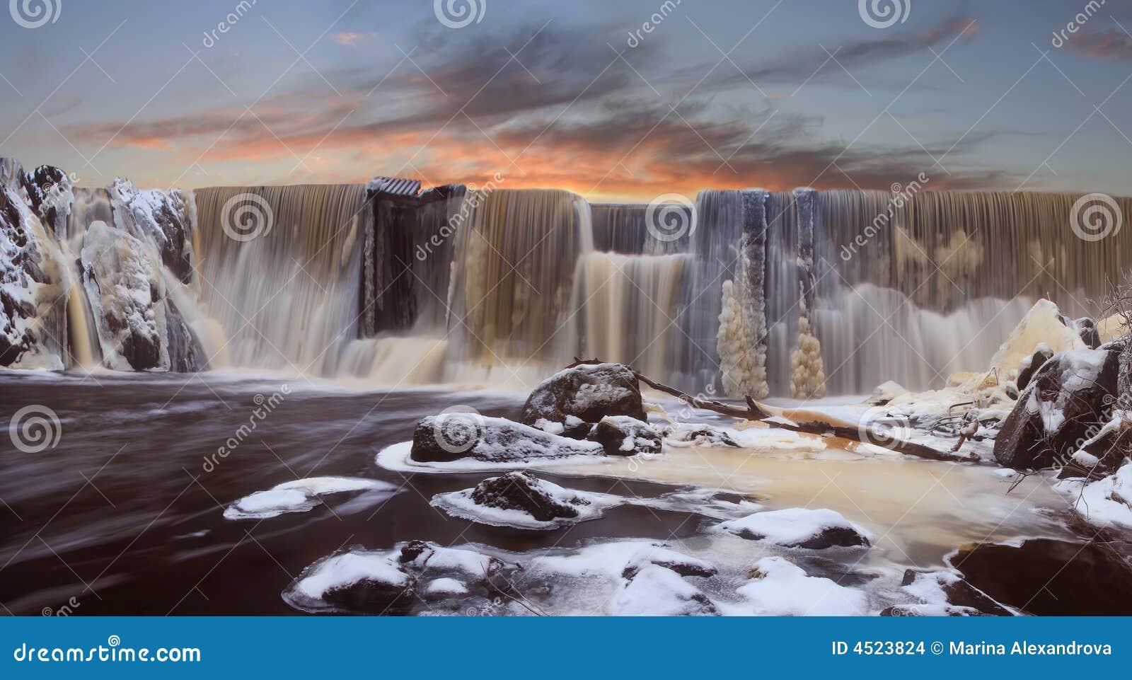 Winter falls on a sunset