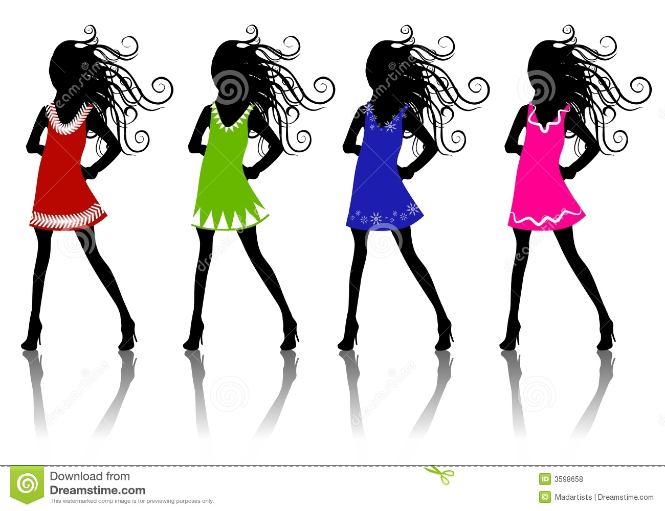 Clip art illustration of 4 winter fashion female silhouettes wearing