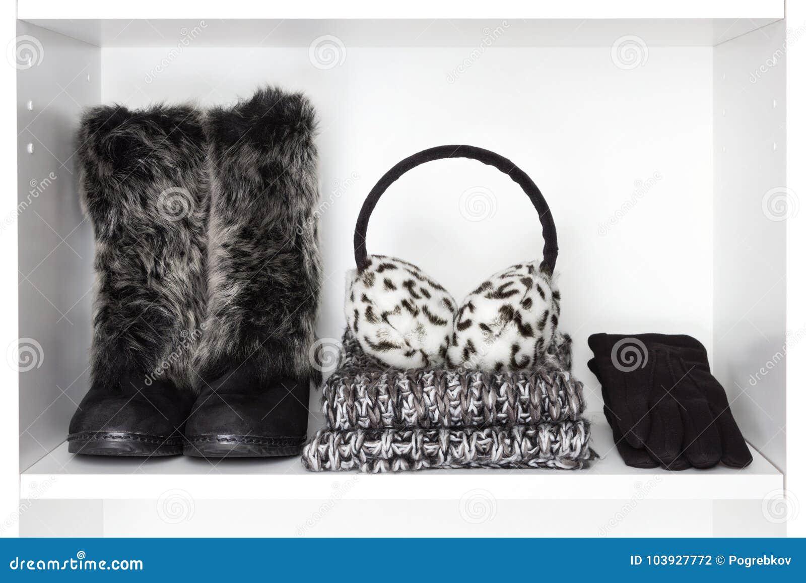 Winter fashion women accessories on white shelf
