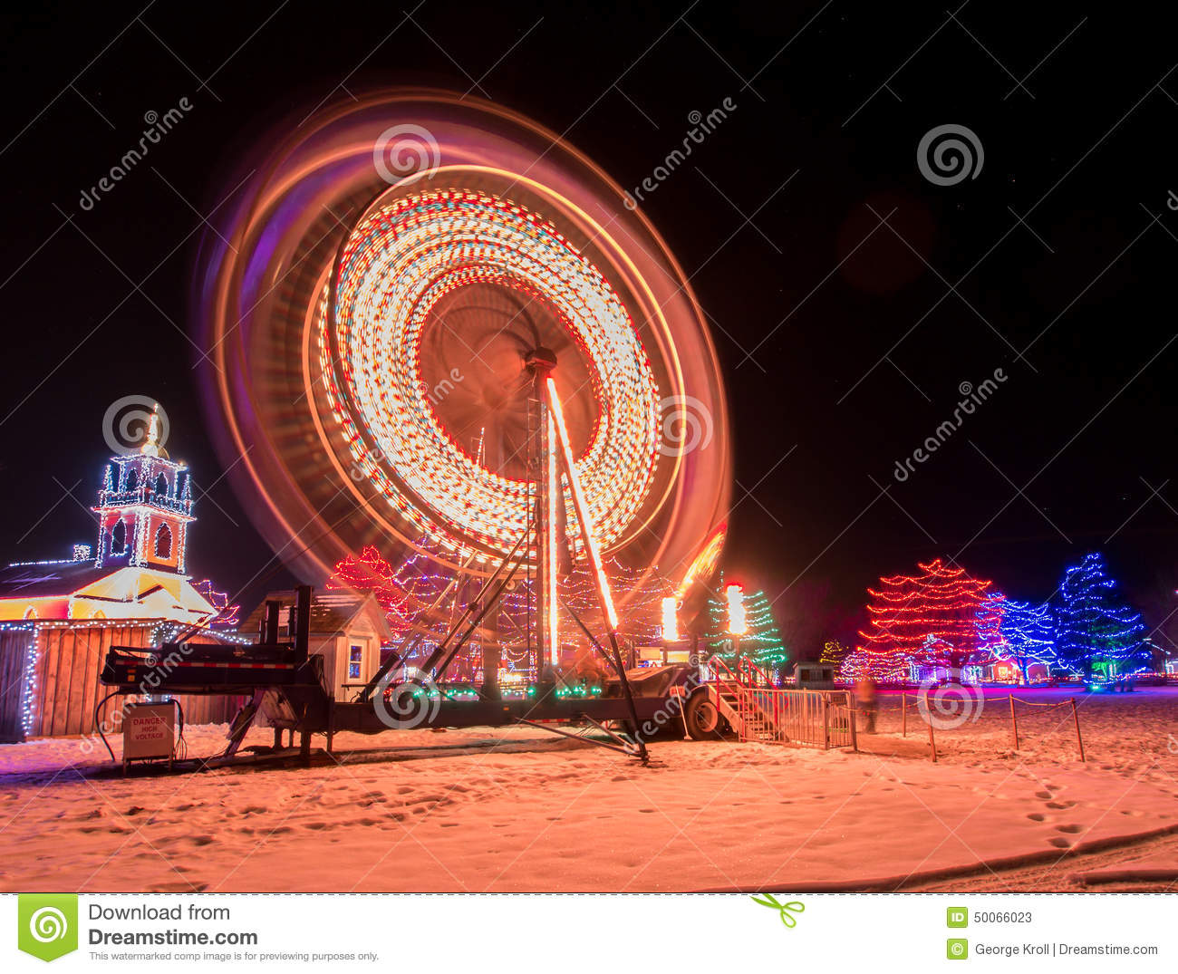 Night lights upper canada village - Winter Ferris Wheel Editorial Stock Photo