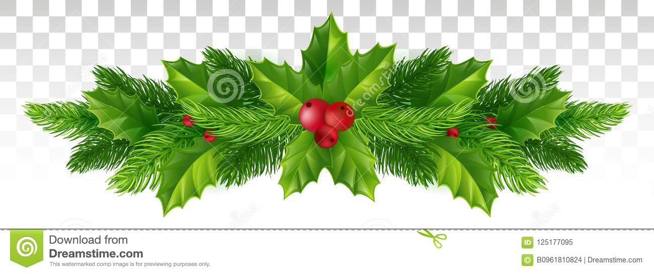 Christmas Leaves.Winter Festive Decor Of Christmas Tree Branches And Holly