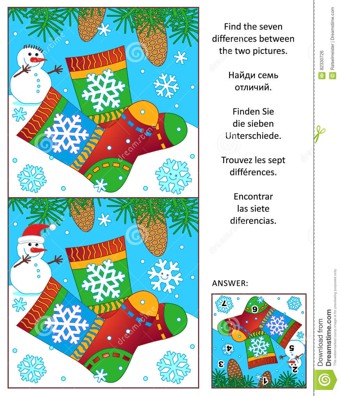 Winter find the differences picture puzzle with knitted socks