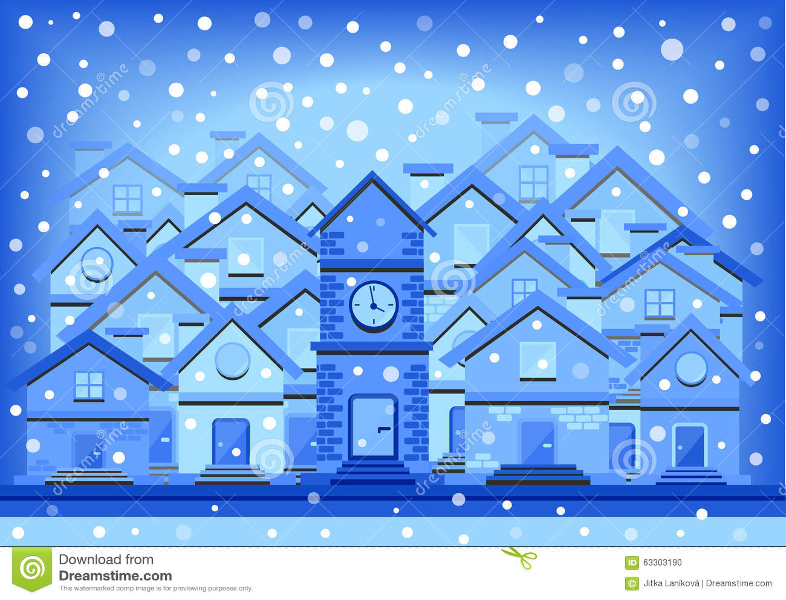 Winter flat design illustration of houses