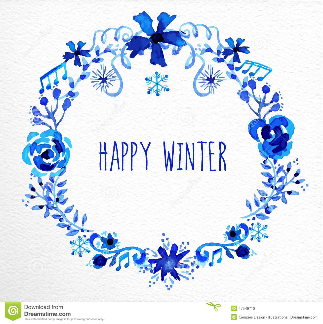 Winter Flowers Wreath Greeting Card Stock Vector Image