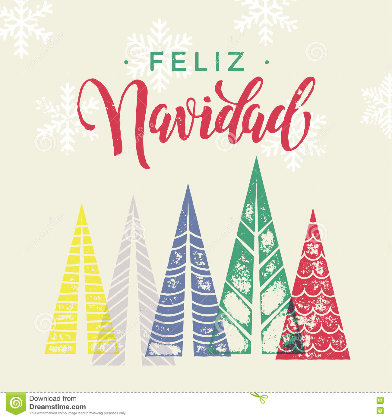 Winter Forest Background For Spain Christmas Greeting Card Stock