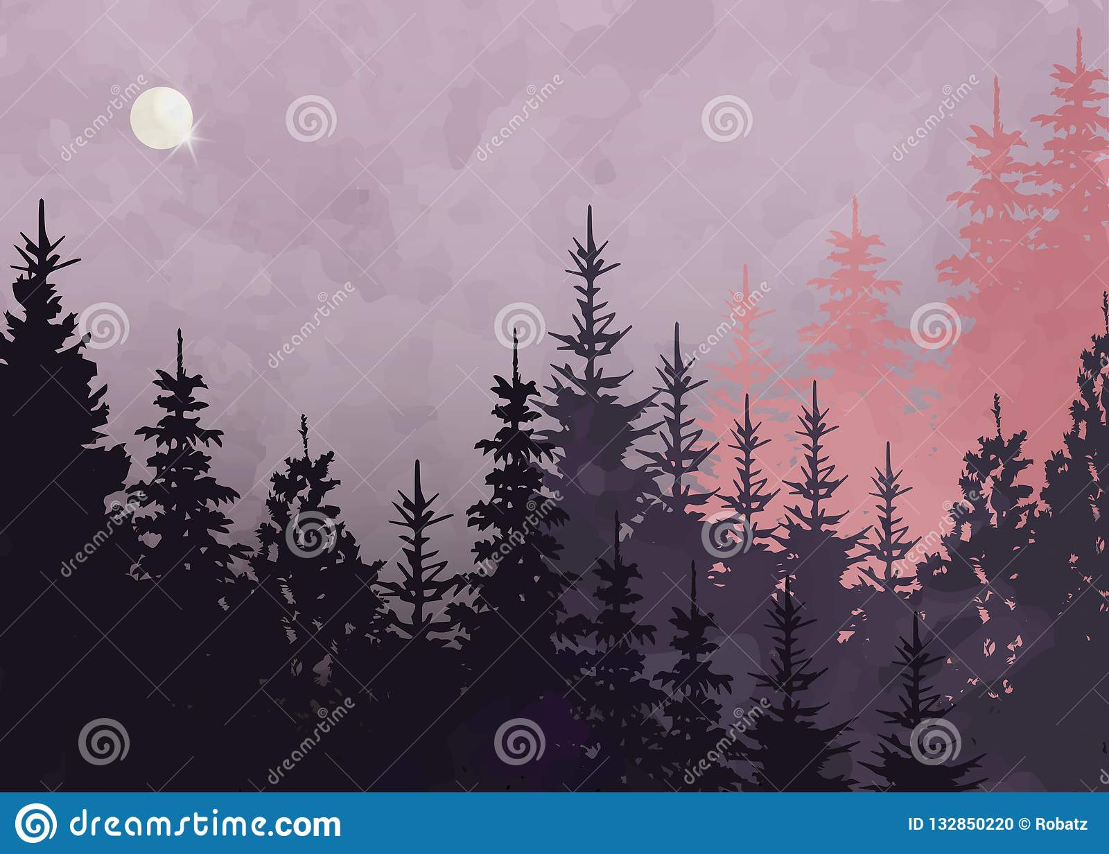 Winter forest background, vector mountain landscape. Christmas tree firs with full moon and pink sky. Watercolor Painting style.