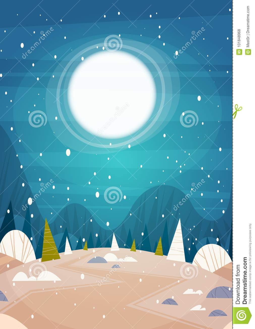 winter forest landscape moon shining over snowy trees merry christmas and happy new year banner holidays concept flat vector illustration