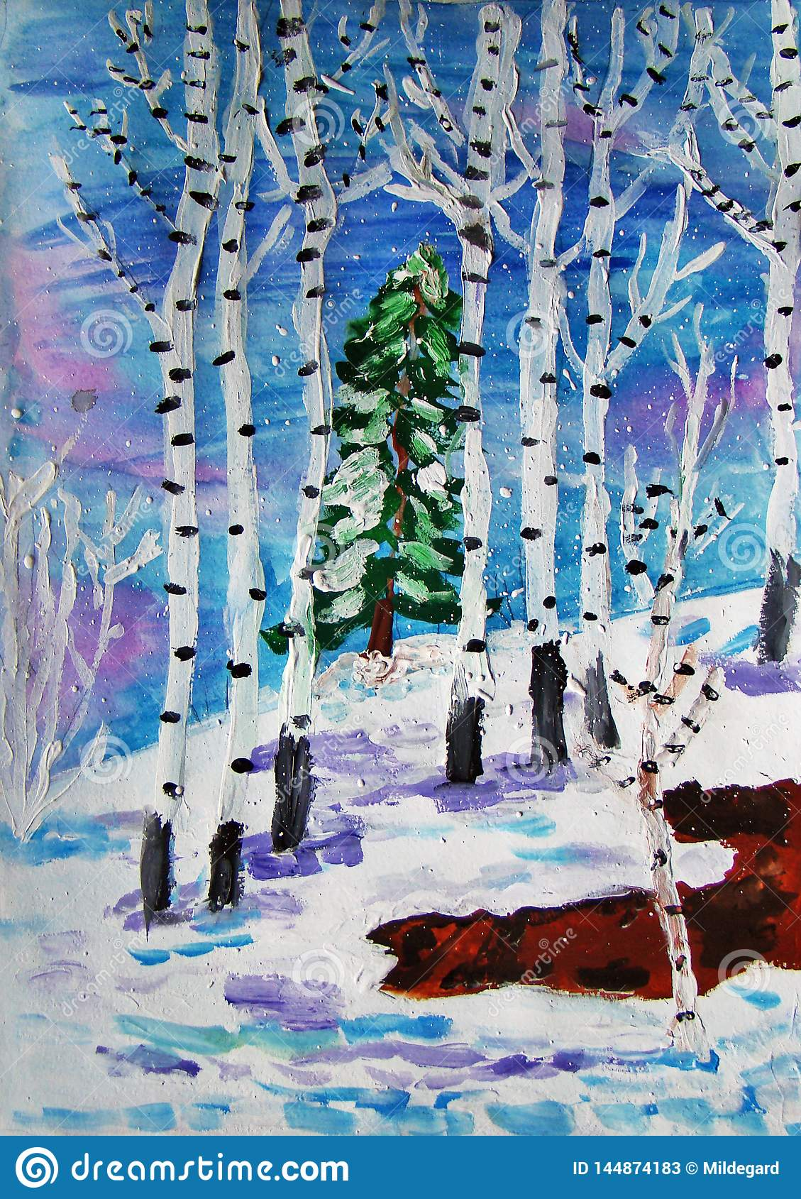 Winter forest painted by child
