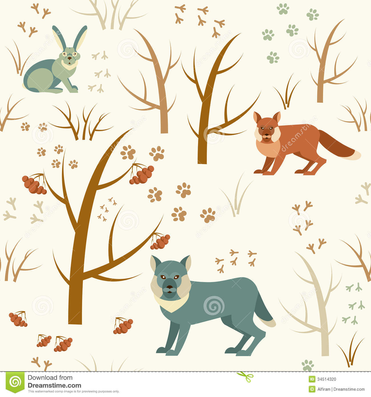 Winter forest seamless pattern stock photo image 34514320
