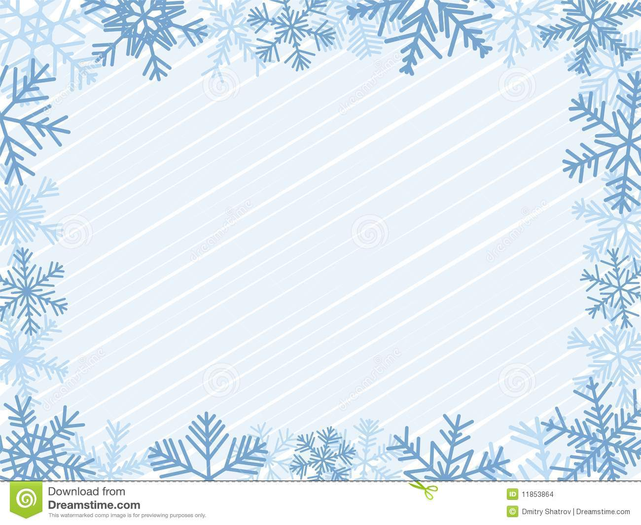 Light-Blue Winter Frame With Different Snowflakes.