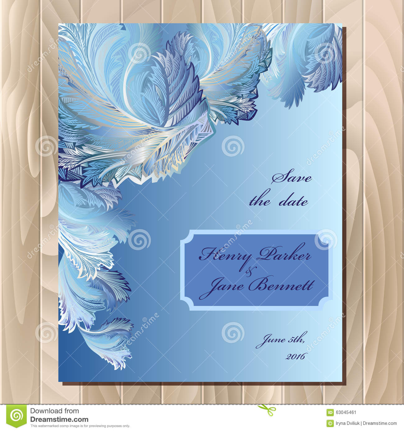 Winter frozen glass design wedding card. Vector background illustration.
