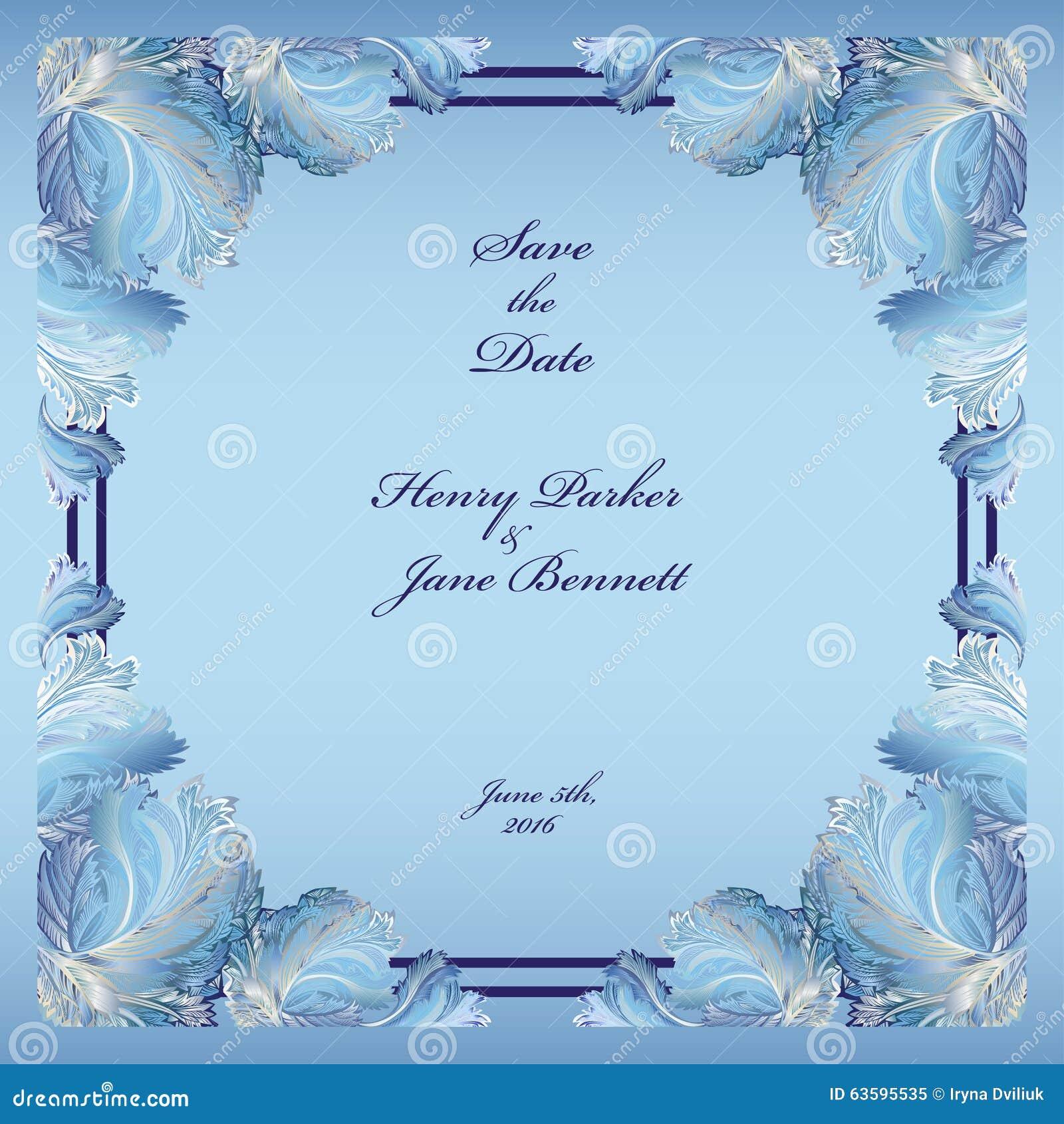 Winter Frozen Glass Design Wedding Frame Background Vector