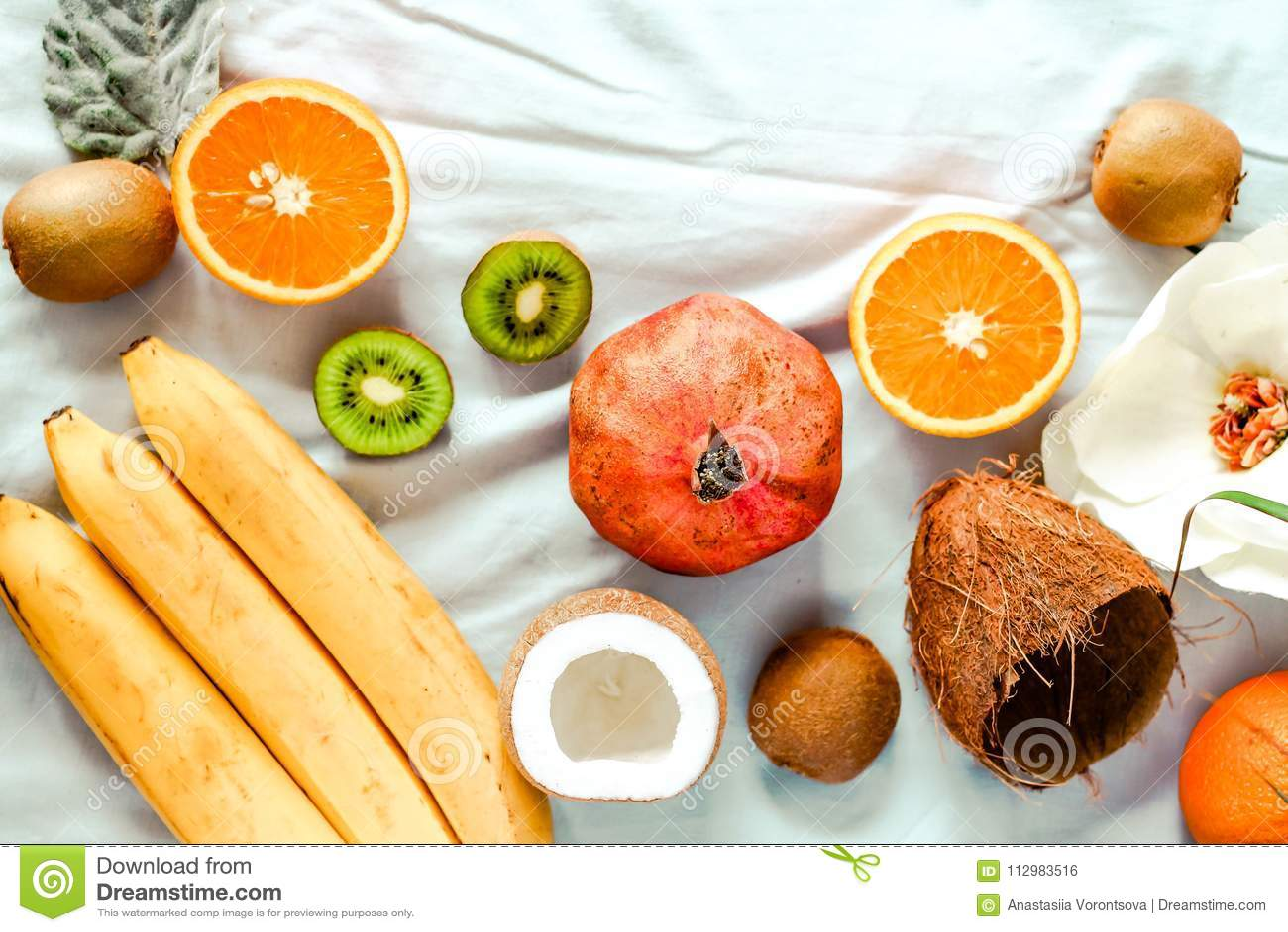 Winter fruits. Kiwi oranges, persimmons. Top view.