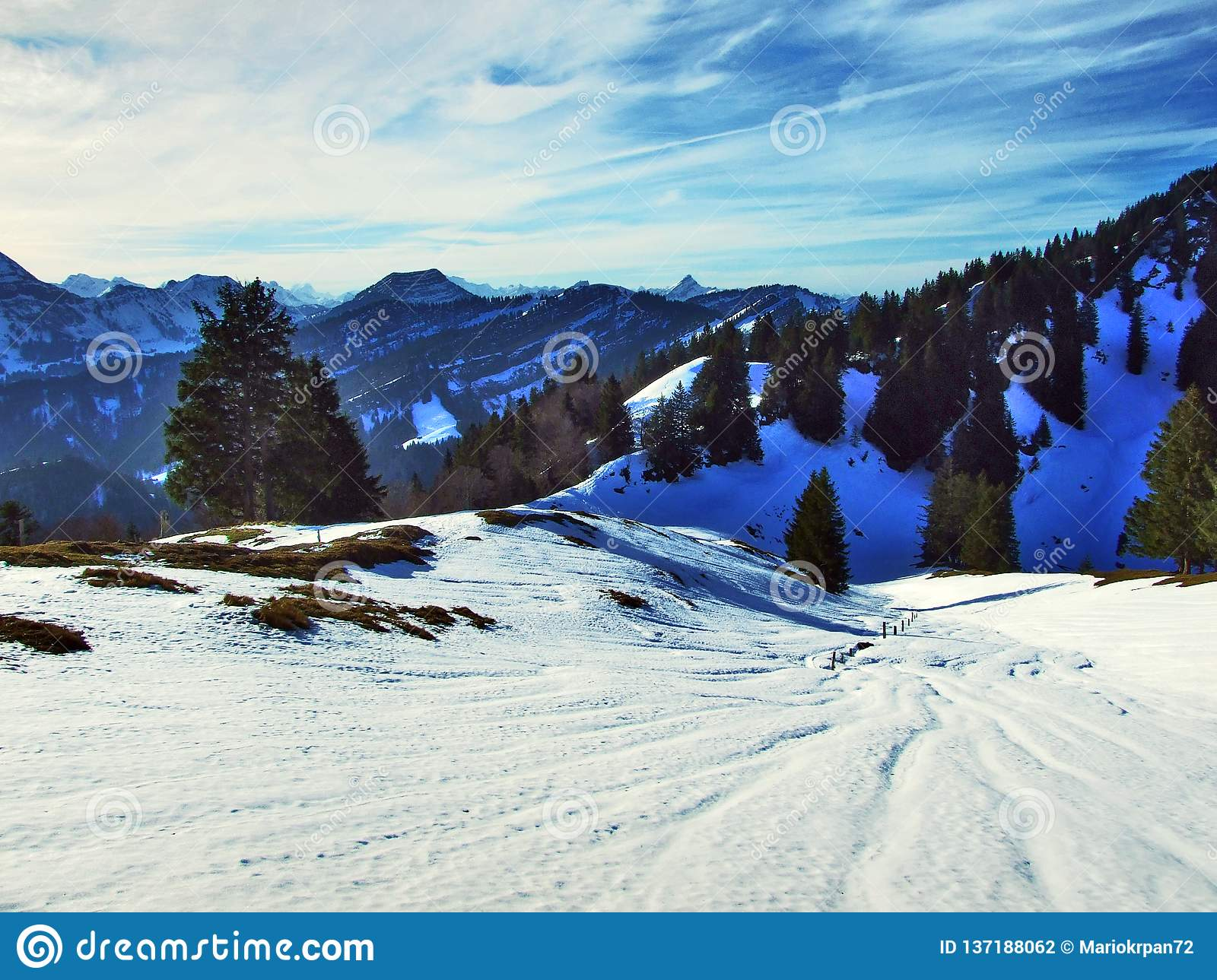 Winter Game Of Light And Shadow In The Swiss Alps Stock