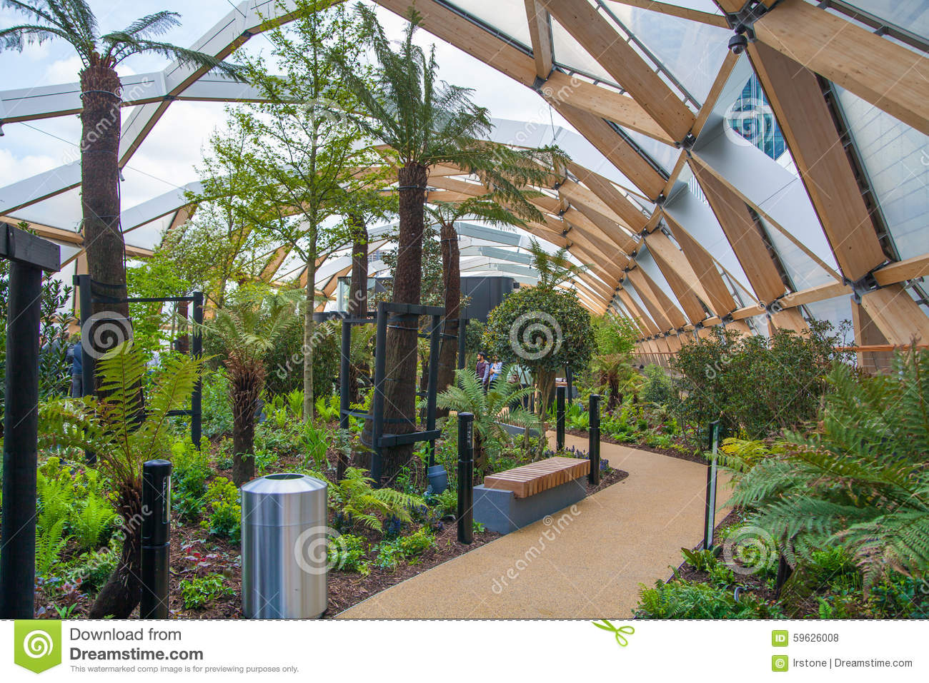 winter garden canary wharf banking and business center editorial