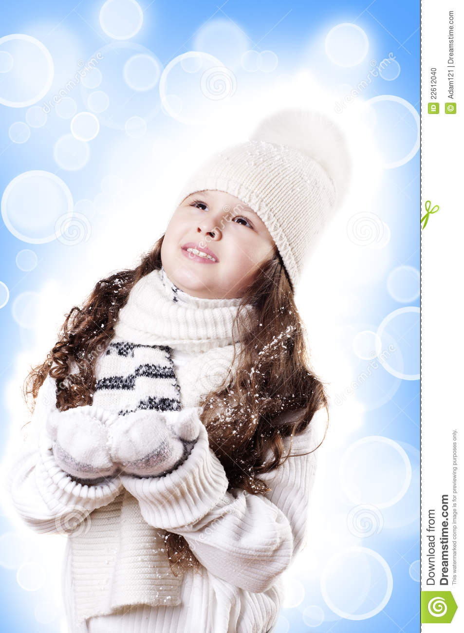 Winter Girl abstract white and blue background