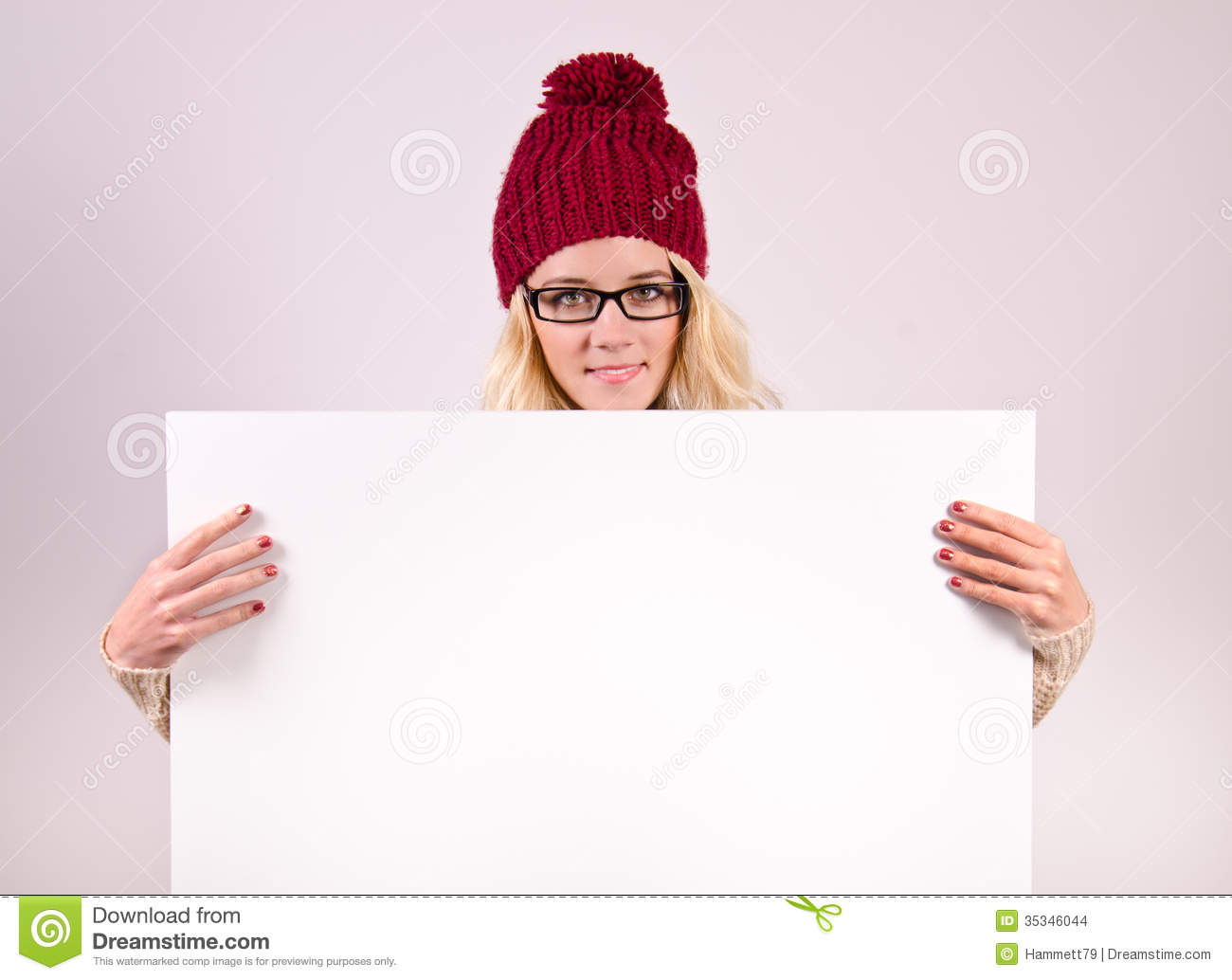 Winter Girl With Blank Paper Stock Images