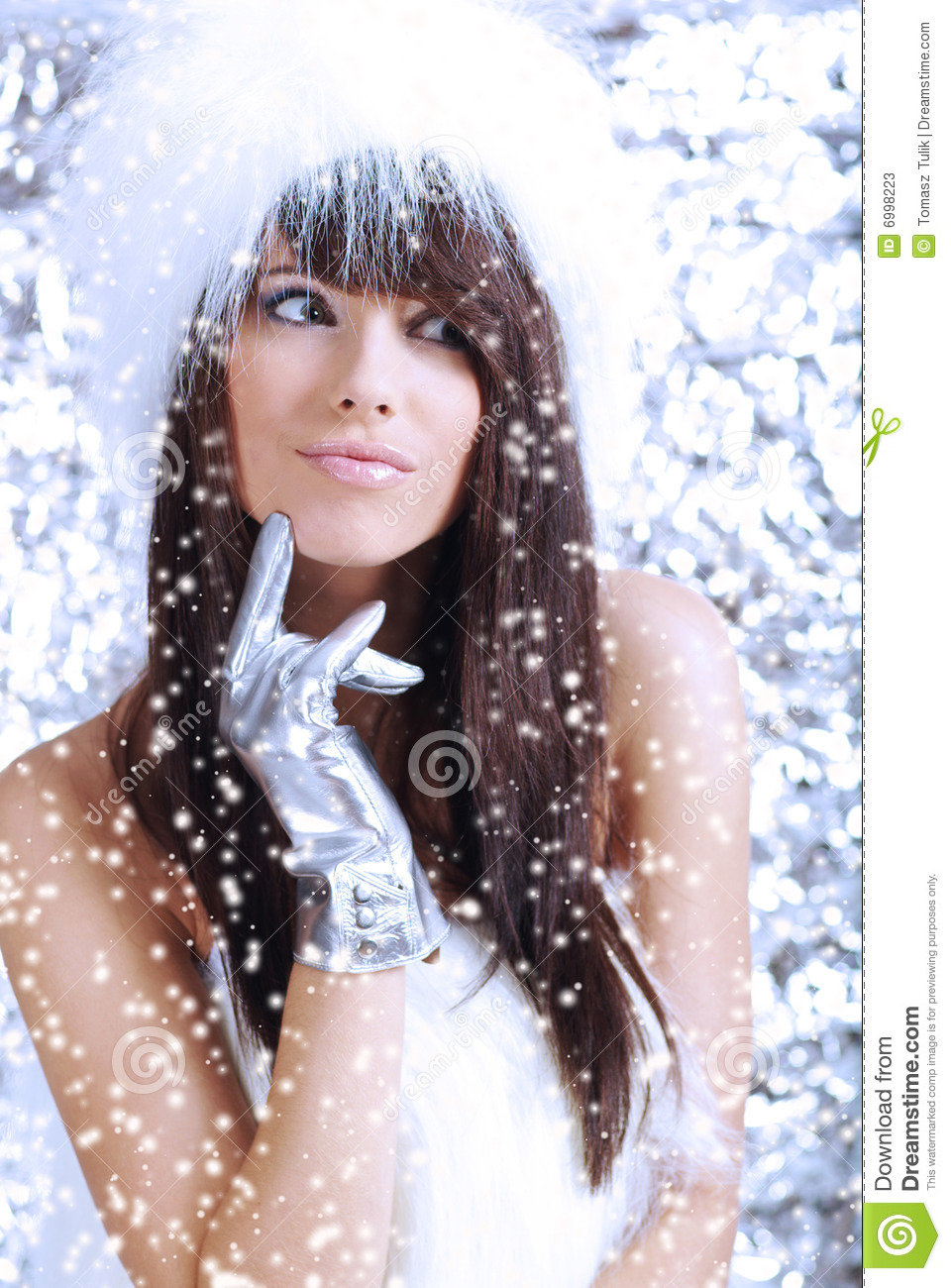 Winter Girl On Silver Background Stock Photos Image 6998223