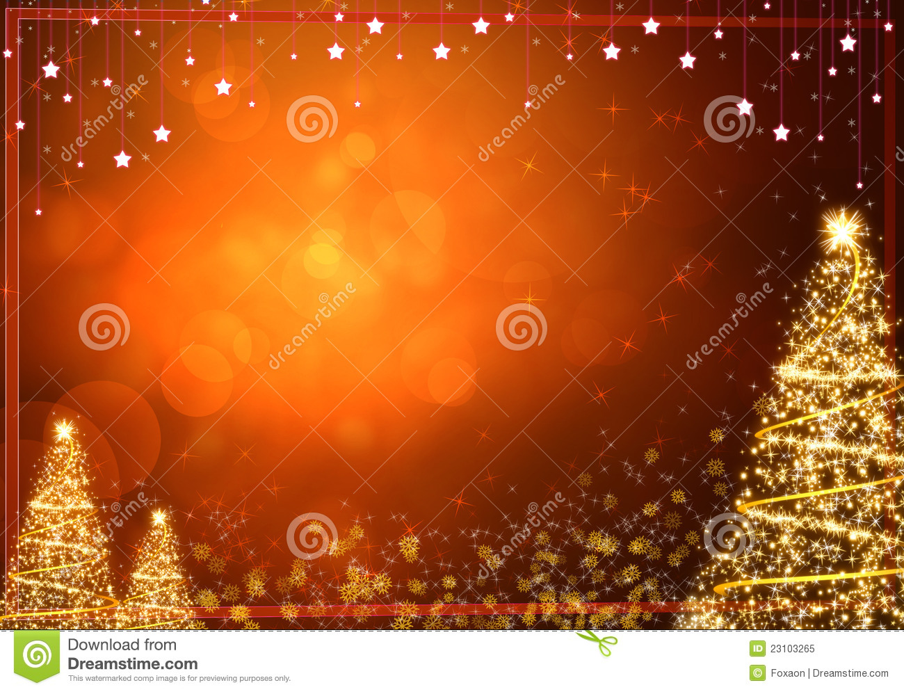 Free Illustration Background Christmas Red Gold: Winter Gold Christmas Tree Background Stock Illustration
