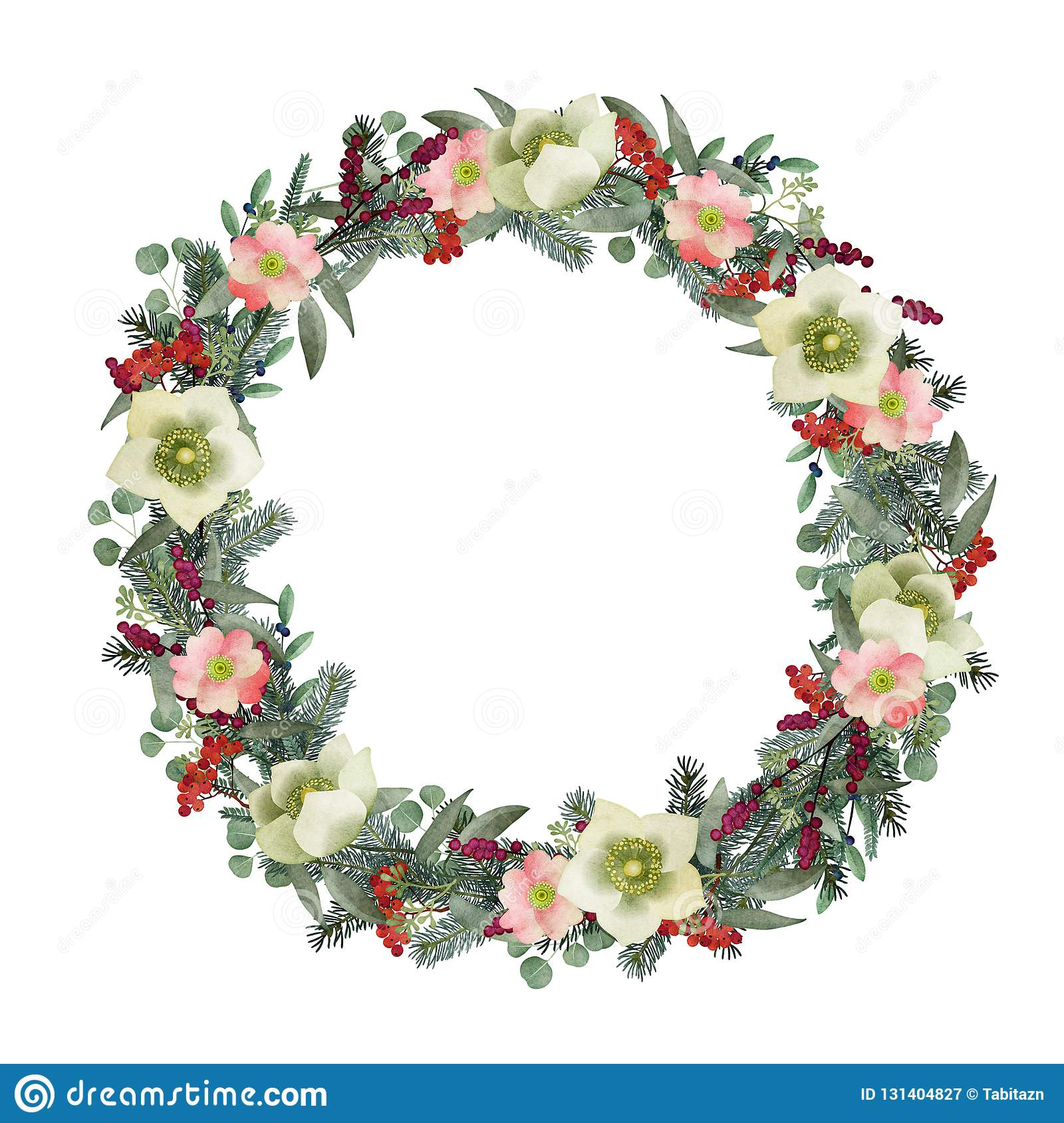Winter Greeting Card Invitation Watercolor Christmas Wreath Fir Eucalyptus Branches Wild Roses Hellebores Flowers Stock Illustration Illustration Of Background Postcard 131404827