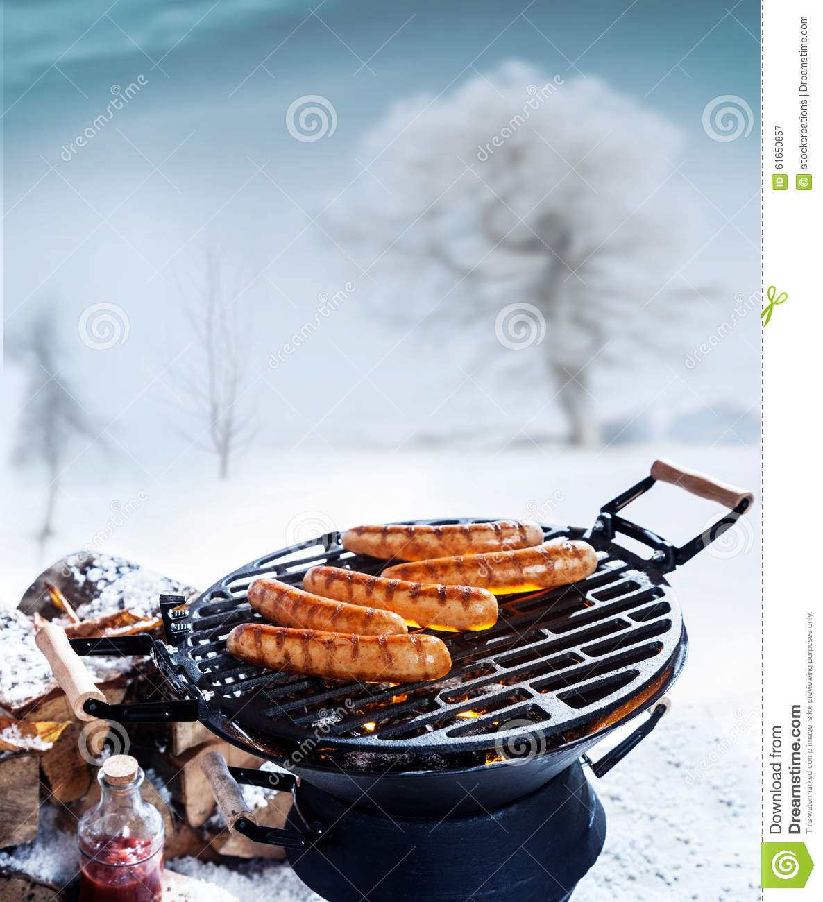 winter grill or barbecue stock image image of meat fire 61650857. Black Bedroom Furniture Sets. Home Design Ideas