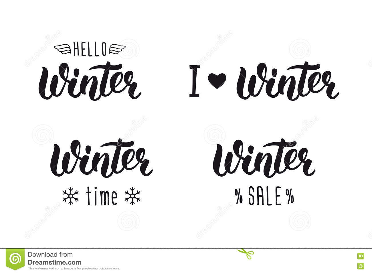 Winter handlettering set winter logos and emblems for invitation winter logos and emblems for invitation greeting card t m4hsunfo