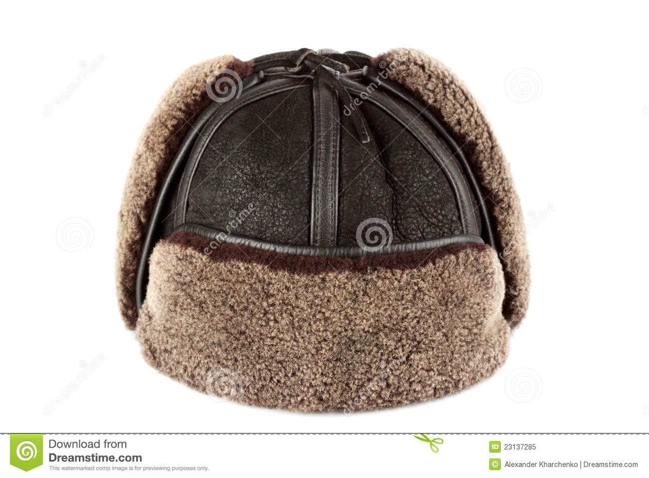 68bad0700 Winter hat ear flaps stock image. Image of leather, color - 23137285