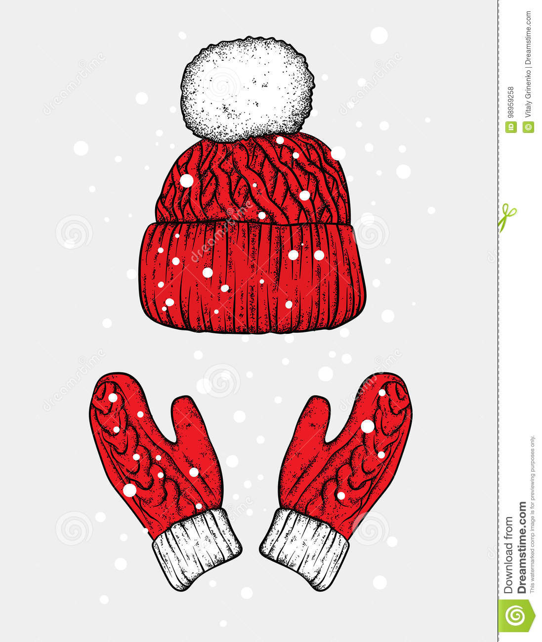 c29d2d82301 Winter hat and gloves. Knitted mittens. Vector illustration for a postcard  or a poster