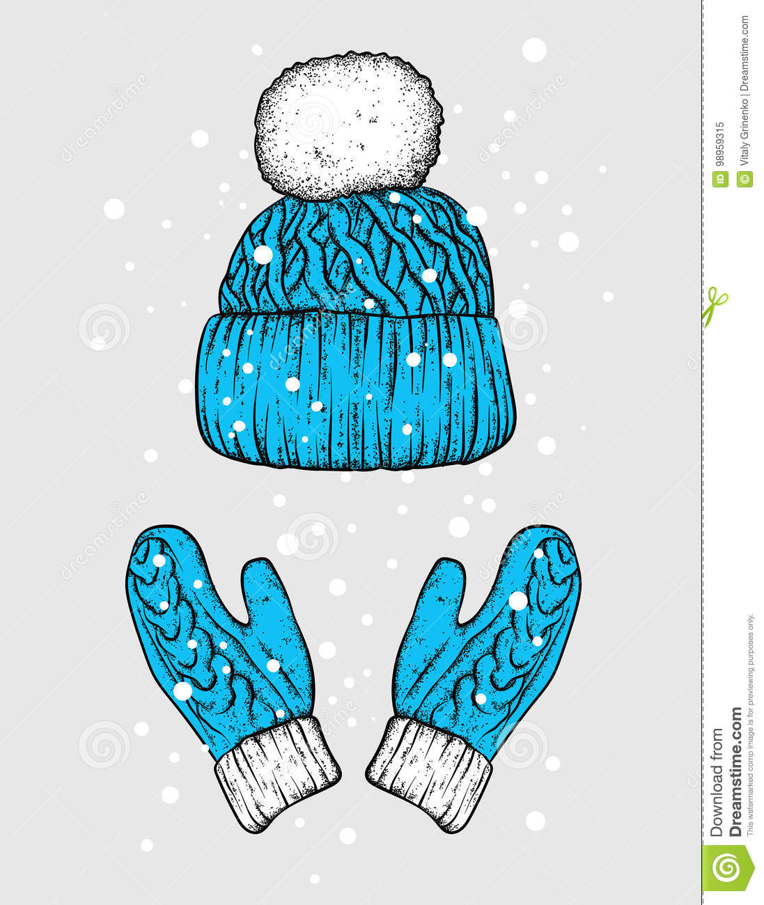 46a15f79b58dc Winter hat and gloves. Knitted mittens. Vector illustration for a postcard  or a poster