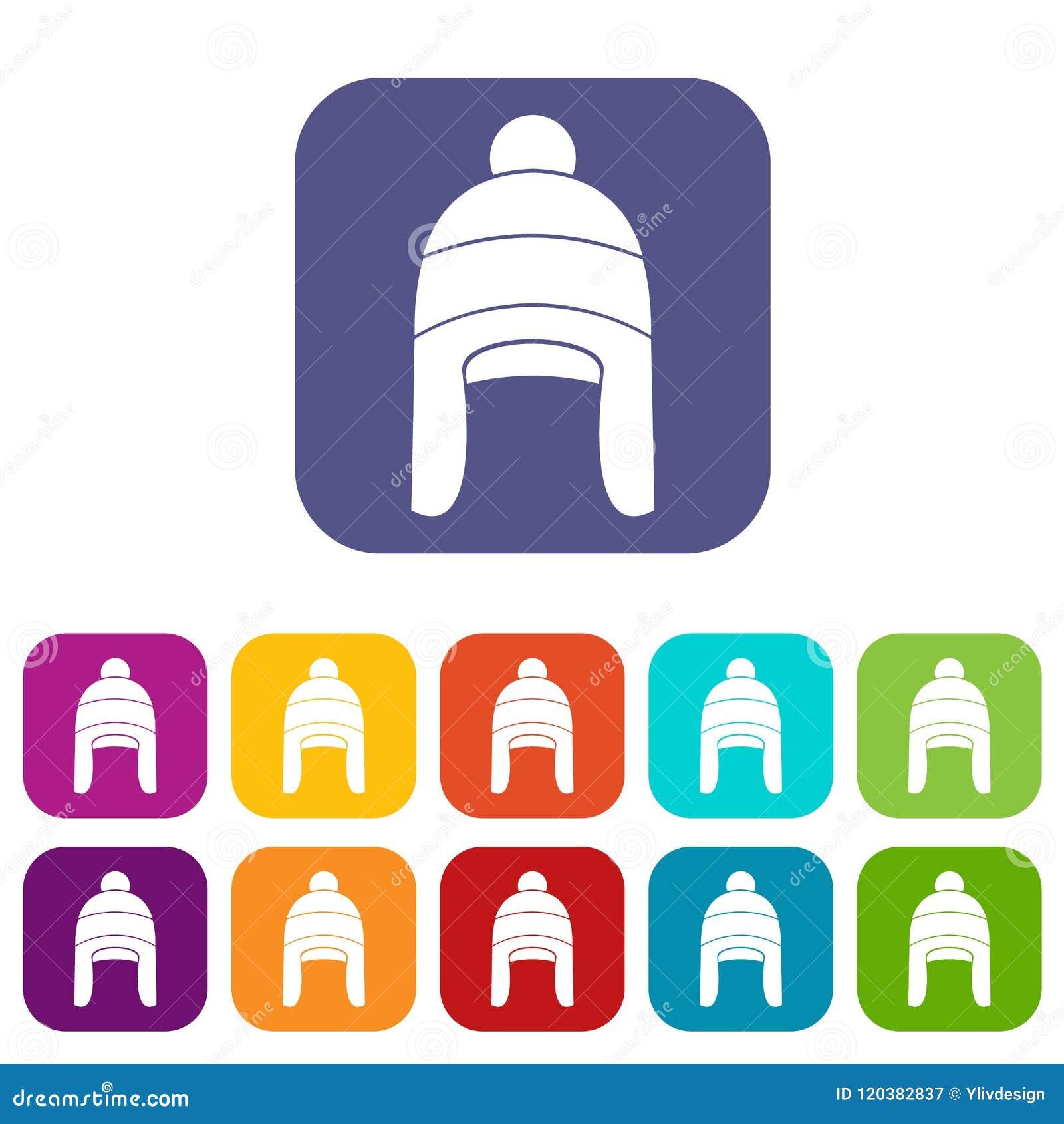 505c454fbc4 Winter hat icons set stock vector. Illustration of season - 120382837