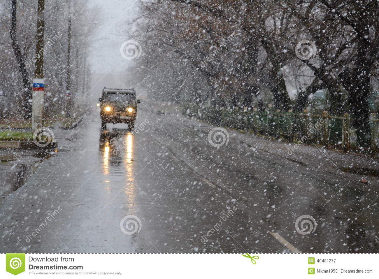 Winter highway stock image. Image of nature, snow, trees ...