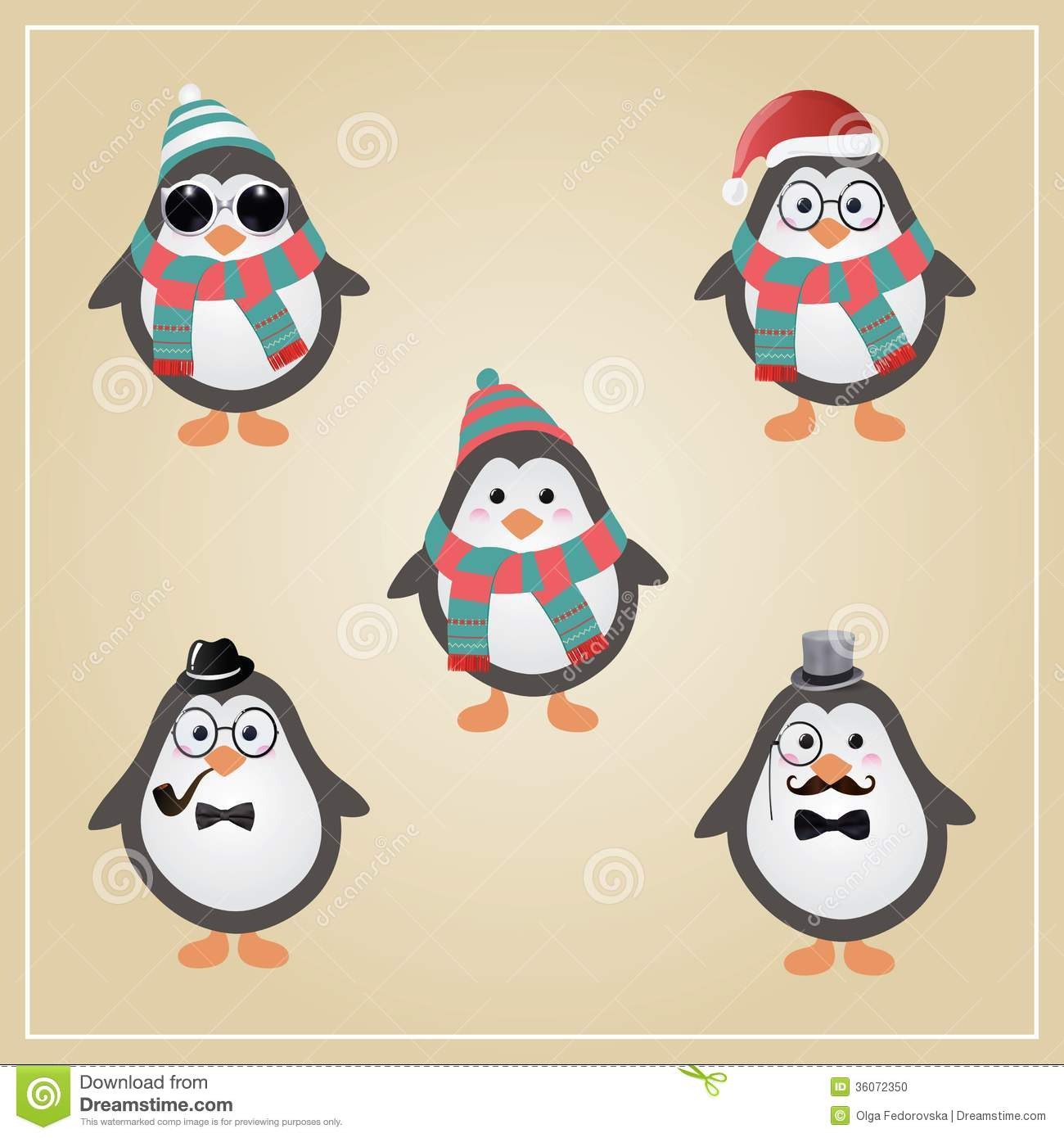Winter hipster penguins illustration stock photo image 36072350