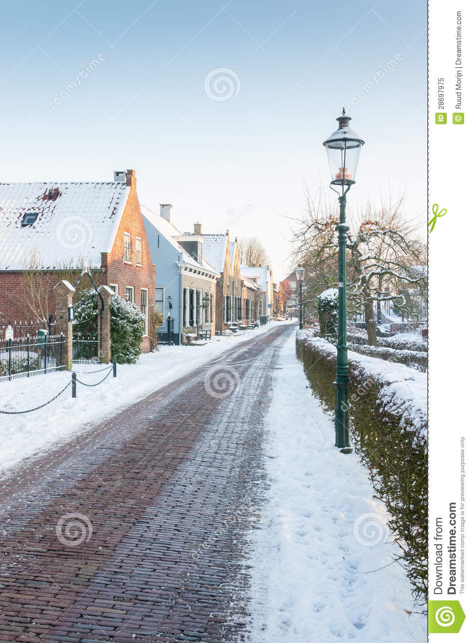 Winter In A Historic Dutch Village Stock Image Image Of