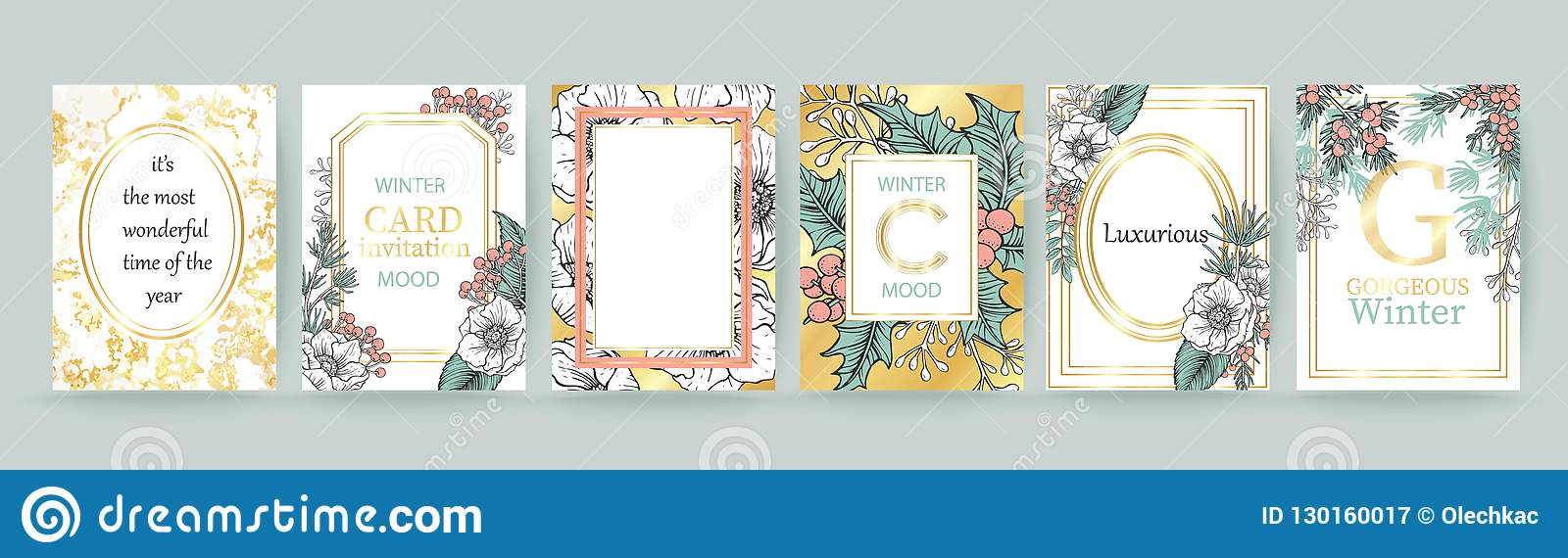 wedding pattern design floral arrangement botanical frame mirror composition place for text merry christmas and happy new year card
