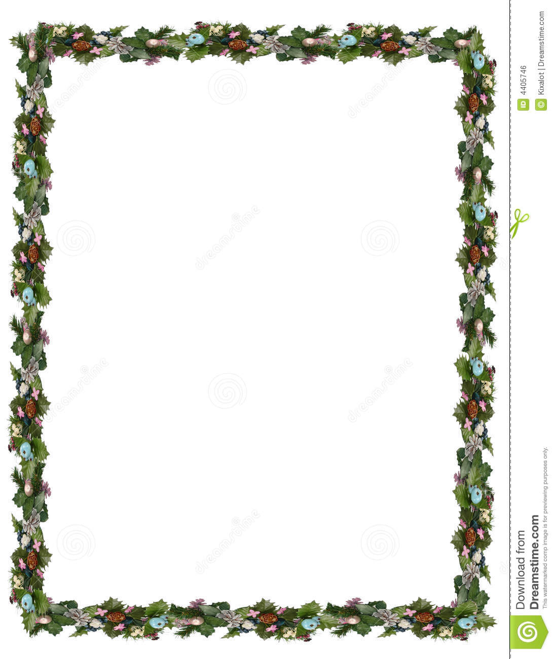 Festive holiday border featuring mistletoe, pine cones, holy and pine ...