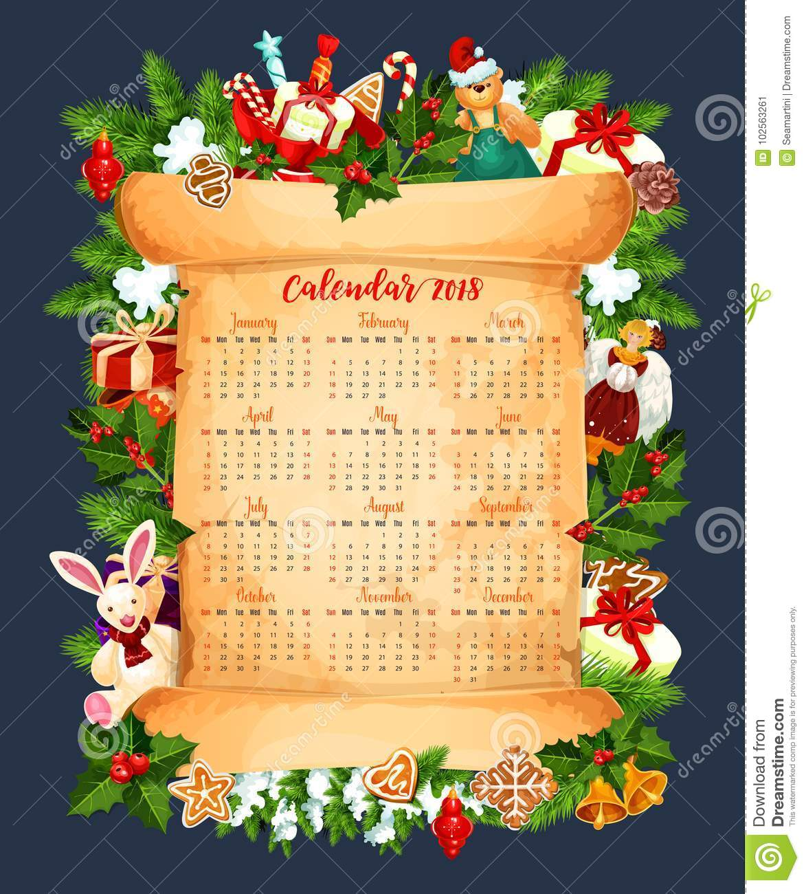 Winter Holiday 2018 Calendar Vector Template Stock Vector